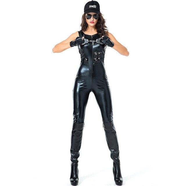 Disfraz de policía Sexy para mujeres adultas Halloween carnaval Cosplay policía  cuero monos uniforme talla grande 87bacd21c44