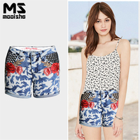 Mooishe Summer Floral Embroidered Jean Shorts Womens Blue Camouflage Mesh Cuffed Denims Shorts Pants