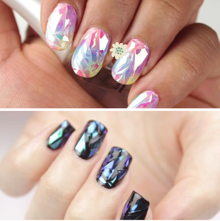 100CM*5CM Shattered Glass Nails DIY Nail Foil Transfer Sticker Rainbow  Effect Background 18Colors Broken Nail Art Decorations In Stickers U0026 Decals  From ...