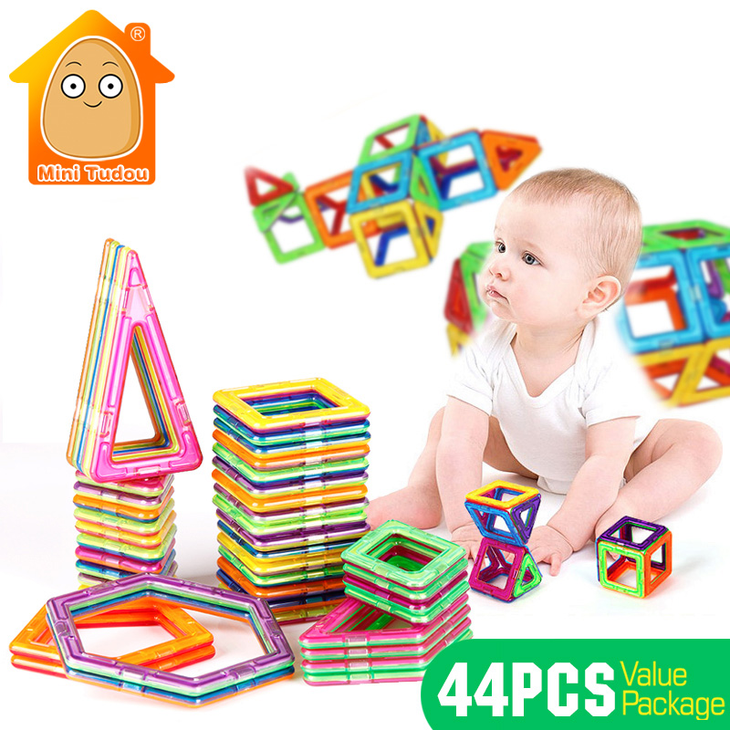 44PCS Magnetic Designer Construction Building Blocks Educational Kids Toys DIY Learning Toy 3D Models For Assembly diy piececool 3d metal model toy dinosaur rock p062s orignal design puzzle 3d metal educational models brinquedos kids toys