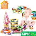Minitudou niños juguetes educativos diy juguete de aprendizaje 44 unids magnética 3d construcción de plástico bloques de construcción de modelos para el montaje