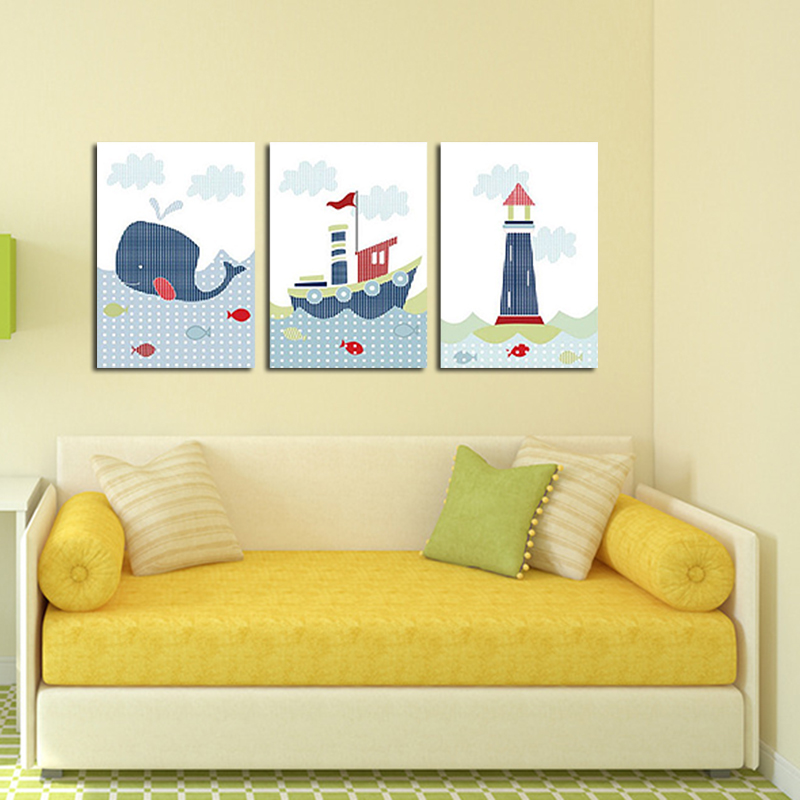 Unframed 3 Panel Boat Whale And Lighthouse Cartoon Home Decor Modern ...