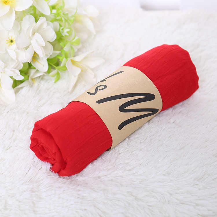 モノクロキャンディカラーシルク新綿リネンスカーフ無地女性のスカーフ女性のギフトスカーフ美しいスカーフ