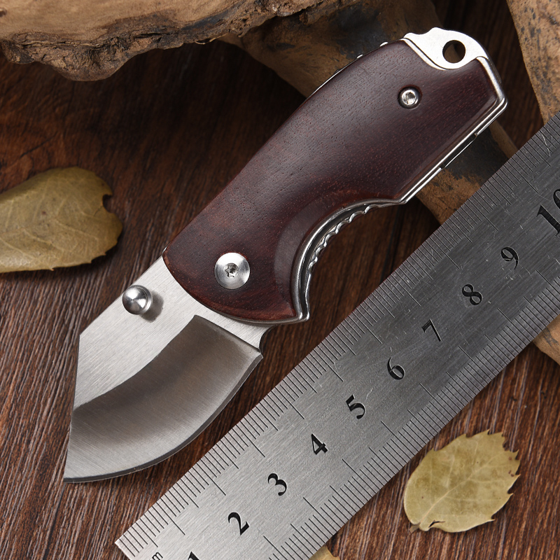 Real Outdoor Small Pocket Knife D2 Steel Mini Folding Knives Red Wood Handle EDC Survival rescue tools sharp mes free shipping-in Knives from Tools