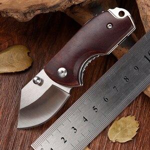 Image 1 - リアル屋外小さなポケットナイフd2鋼ミニ折りたたみナイフレッドウッドハンドルedcサバイバルレスキューツールシャープmes送料無料