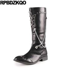 Schuhe Hoch Reißverschluss Mittlere Waden Embellished Schwarz Mens Kniehohe  Lederstiefel Europäische Stilvolle Spitz Wasserdicht. acc31b3eba