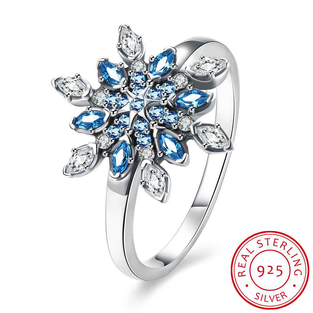 2017 New antique engagement ring luxury snowflake Finger Rings with Blue cz Bijoux for women and ladies anel gift