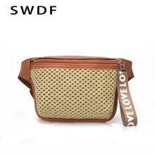 SWDF 2019 Luxury Fanny Pack Womens Straw Belt Bag For Children Lady Waist HolographicTravelling Mobile Phone Bags