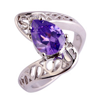 Wholesale Fashion Water-Drop Pear Cut Amethyst White Sapphire 925 Silver Ring Size 6 7 8 9 JEWELRY Unisex Rings Free Shipping