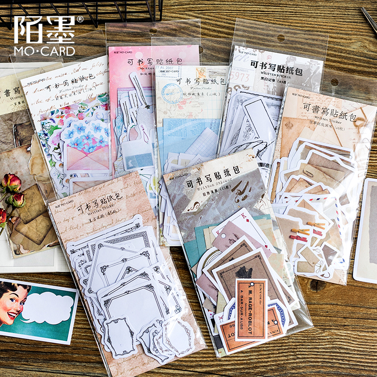 45pcs/pack Vintage Style Handwritten Decorative Memo Pads Scrapbooking Stick Label Diary Stationery Album Stickers