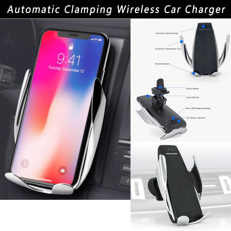Qi Wireless Car Charger Air Vent Automatic Clamping Mount Holder 10W Fast Charging for iPhone XS Max XR X 8 Samsung S10 S9Qi Wireless Car Charger Air Vent Automatic Clamping Mount Holder 10W Fast Charging for iPhone XS Max XR X 8 Samsung S10 S9