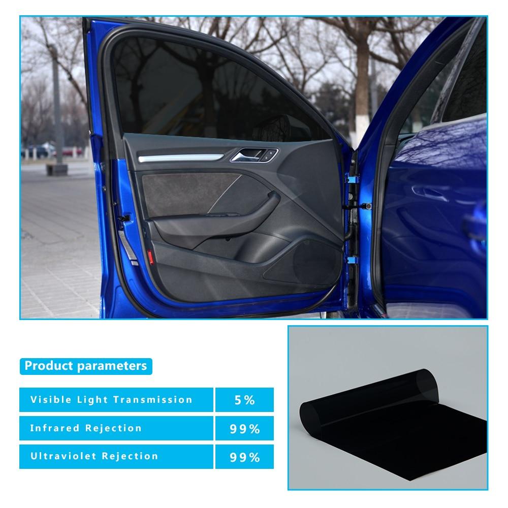 1x30m/39.37x100ft Dark Black Nano Ceramic Tint Car Window Solar Film UV Proof Heat Resist VLT 5% Black Tint Vinyl