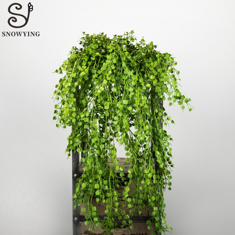 Artificial Tropical Fern Rattan Grass Wedding Party Wall Art Decoration Plastic Fake Plant Flower Wall Hanging Home Garden Decor