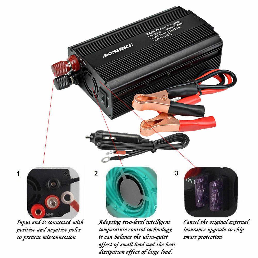 AOSHIKE כפולה USB 4.2A מהפך 12v 220v 300W 500W האיחוד האירופי רכב כוח מהפך 12V כדי 220V אוטומטי מתח שנאי רכב מתאם
