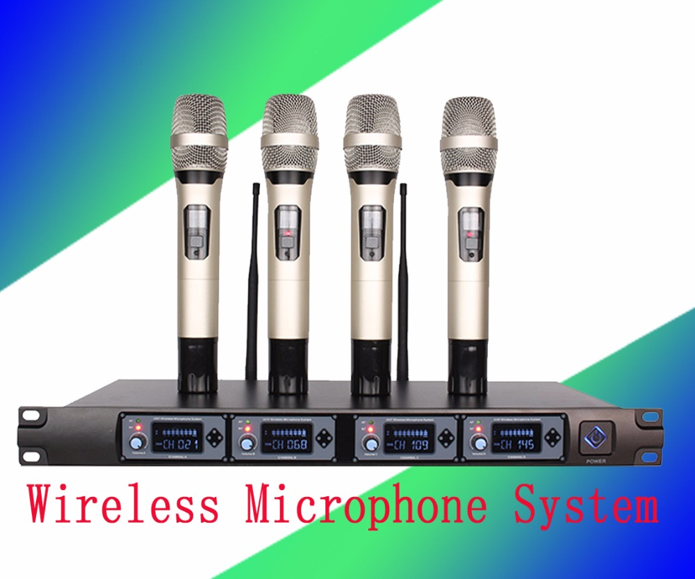 Wireless Microphone System U4000T Professional Microphone 4 Channel UHF Dynamic Professional 4 Handheld Microphone + Karaoke