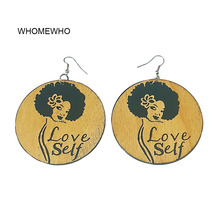 Vintage Natural Wood African Engraved Queen Love Yourself Letters Brown Earrings Wooden Africa DIY Party Club Ear Jewelry