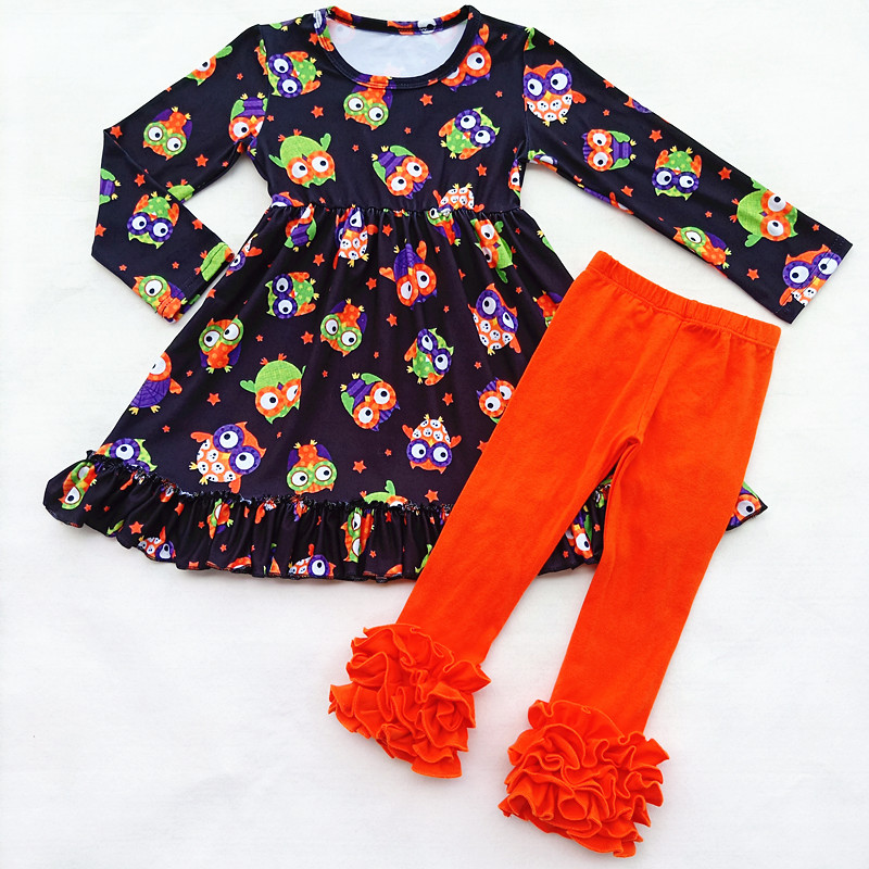 Kids Long Sleeve Outfits Fall/Winter Girls Cartoon Animal Pattern Ruffle Set OWL Milk Silk Ruffle Top Match Orange Ruffle Pants cherry print ruffle top