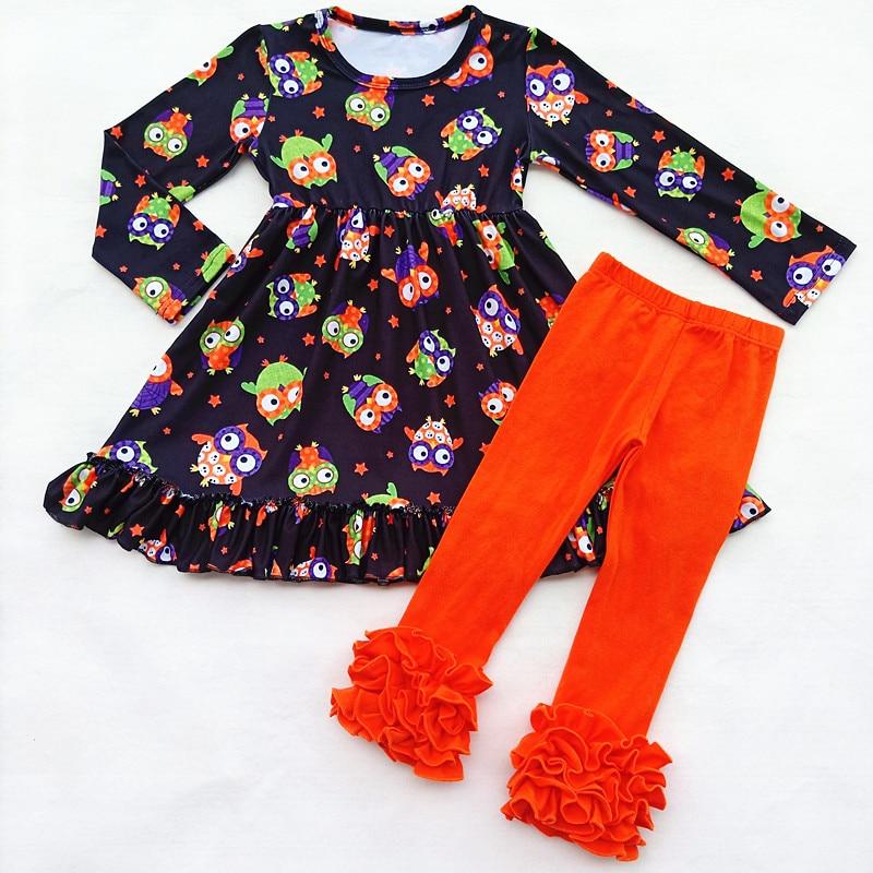 Kids Long Sleeve Outfits Fall/Winter Girls Cartoon Animal Pattern Ruffle Set OWL Milk Silk Ruffle Top Match Orange Ruffle Pants все цены