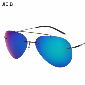 2017 New Fashion Aviation Men Titanium Alloy Polarized Sunglasses Women Rimless Pilot Sun Glasses Shades With Original Box