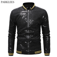 Black Sequin Baseball Varsity Jacket Men 2019 Brand New Mens Hip Hop Streetwear Jackets and Coats Stage Prom Clothes for Singers