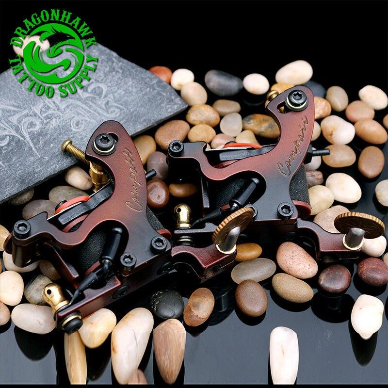 2pcs Professional Compass Tattoo Machine Liner And Shader Steel Frame Copper Coils Tattoo Gun professional compass tattoo machine liner