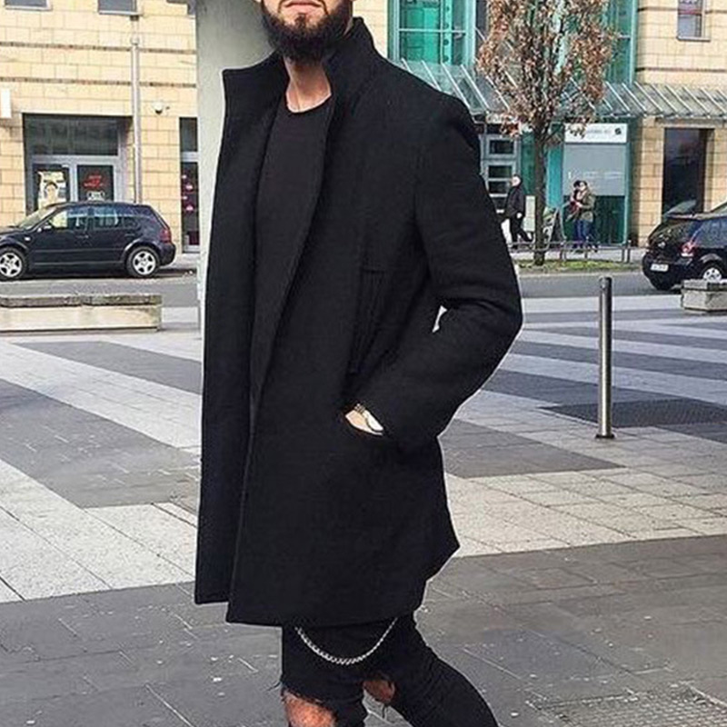 Man Autumn Winter Casual Slim Warm Overcoat Solid Color Lapel Collar Woolen Outwear FS99