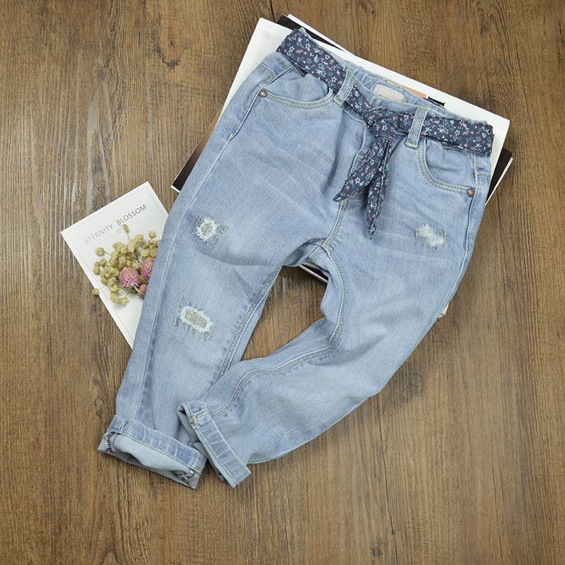 Newborn Baby Jeans Pants Ripped Denim Trousers Toddler Kids Winter Warm Leggings Boys Girls Broken Light Color Children Clothing guoran holes ripped jeans pencil pants women s high strech slim denim jeans leggings 26 32 femme pantalon light blue trousers
