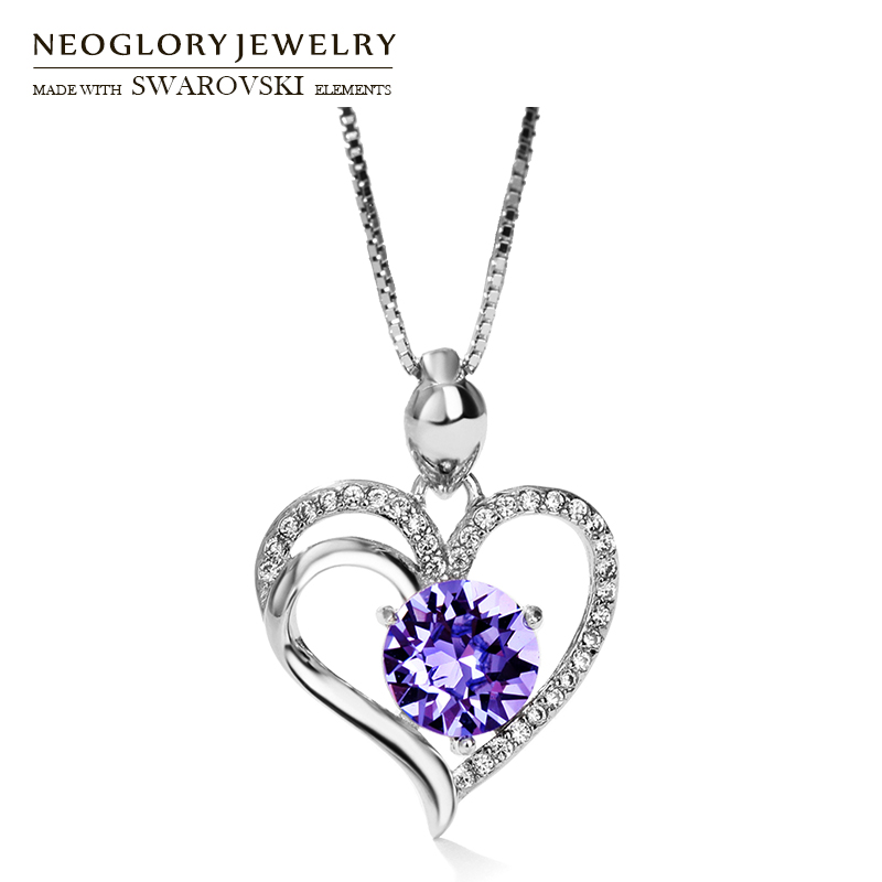 Neoglory Zircon & S925 Silver Plated Long Charm Necklace Romantic Heart Design Allergy Free Elegant Party Lady Gift