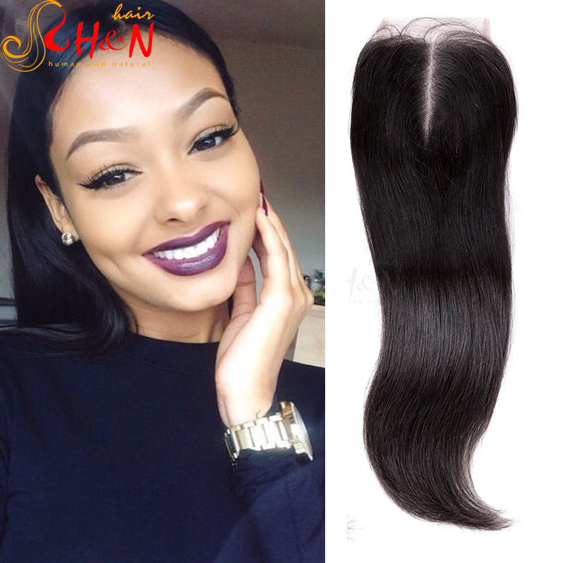 Brazilian Closure Pieces Center Part Weave Closure Sew In Straight
