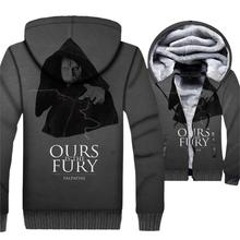 Game of Thrones Jacket Ours is the Fury Hoodie Men Hooded Sweatshirt Winter Thick Fleece Zip up 3D Print Coat Black Sportswear