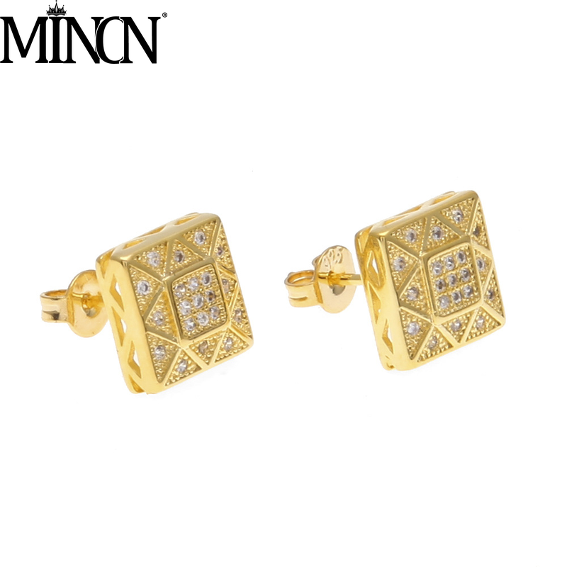 MINCN Mens Stainless Steel Earrings Punk Style Jewelry Copper Plated Square Micro-Inlay Zirconium Stud