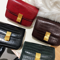 Women Ladies Alligator Black Handbags PU Leather Red Handbag Flap Shoulder Bag Messenger Bags Air Hostess Bag
