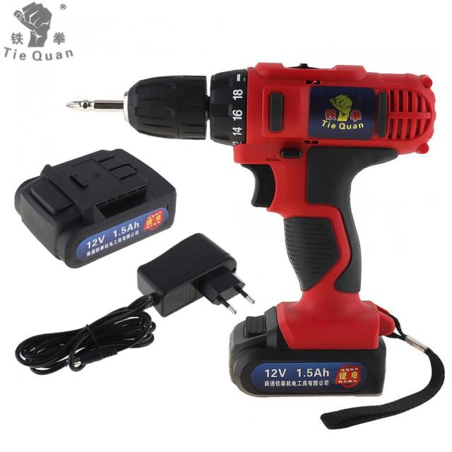 AC 100 - 240V 12V Cordless Electric Drill / Screwdriver with 18 Gear Torque for Handling Screws / Punching