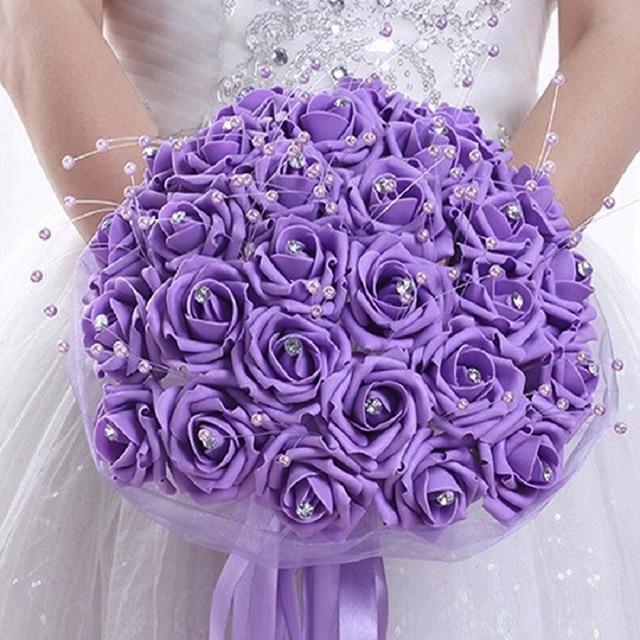 Crystal Flowers Bouquet Beautiful Wedding Bouquet Artificial Flower Rose Bride Flowers Bridesmaid Bridal Bouquet Bridal Prom