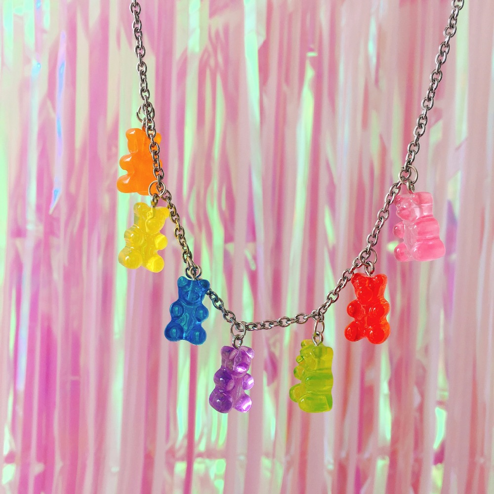 Handmade 7 Colors Cute Judy Cartoon Bear Stainless Steel Necklace Candy Color Pendant For Women Girl