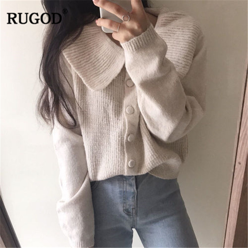 RUGOD Fashion Vintage Women Sweaters O-Neck Knitted Solid Casual Women Cardigans 2019 Spring Women Tops pull femme hiver