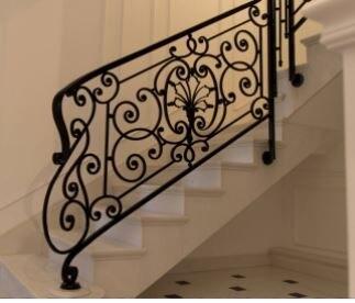 Hench 100 Handmade Forged Custom Designs Iron Stair Railing   Stair Railing Design Iron   L Shape   Home   Residential   Aluminum   Oak And Iron