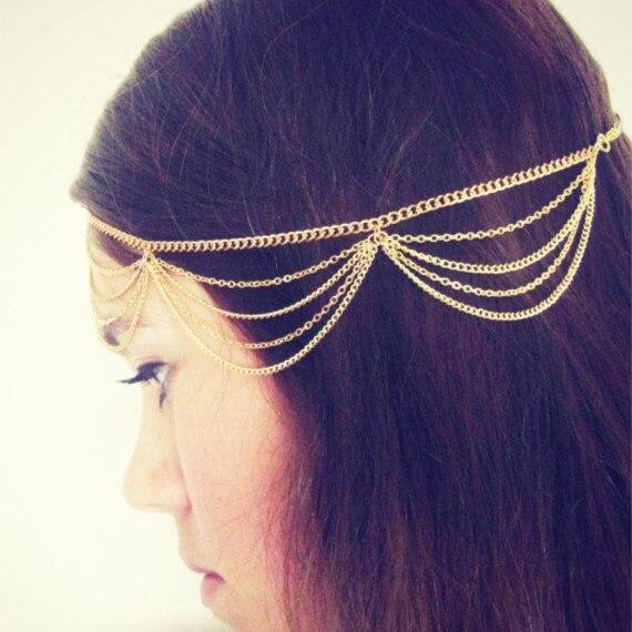 New Europe and America Hair accessories Multi layered Chain Tassels Headbands