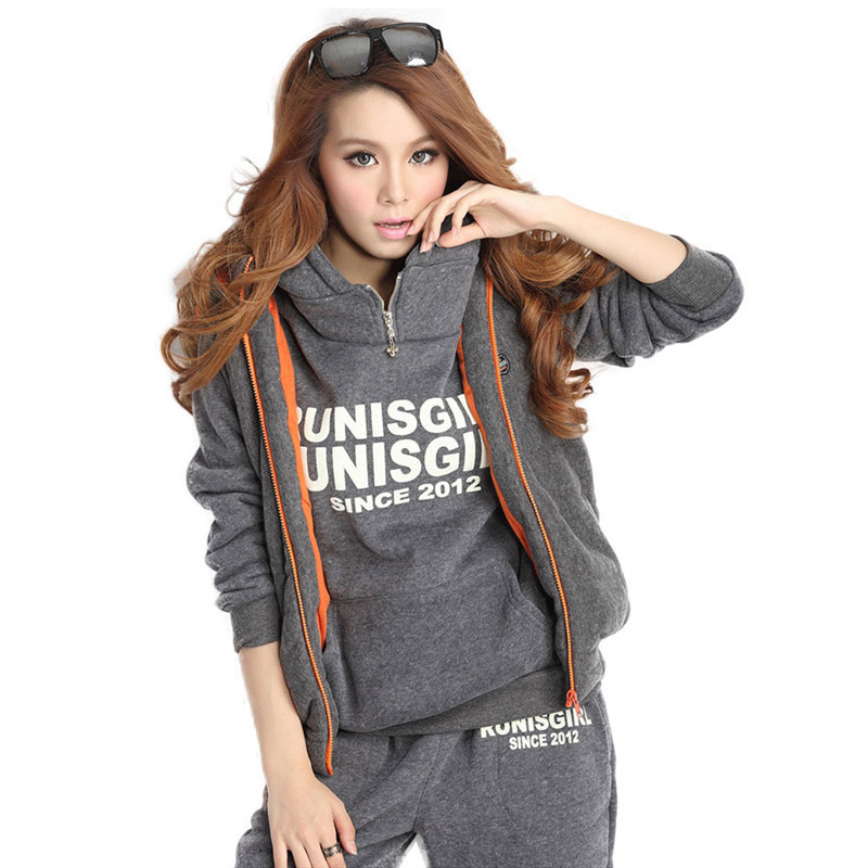 Women Tracksuits Winter 3 Piece Hoodies+Vest+Pants Sport Suit Training Suit Letter Printed Fleece Jogging Running Set Sportswear