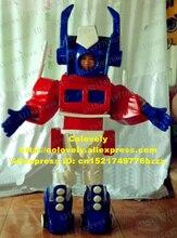 생생한 빨간색 파란색 로봇 Automaton 마스코트 의상 빨간색 Corselet 흰색 바지 파란색 부츠 No.6334 와 성인 만화 캐릭터