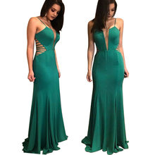 Dark Green Mermaid Evening Elegant Dresses 2018 Deep V Slim Off The  Shoulder Prom Dinner Gowns Autumn Formal Women Party Dress 73911d397ac8