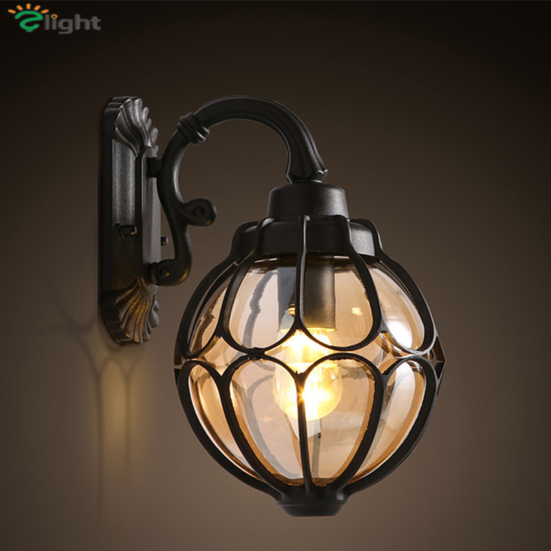 European Pastoral Tiffany E27 Led Wall Light Simple Painted Iron Frame Sandy Glass Bedroom Led Wall Lamp Foyer Led Wall Lighting