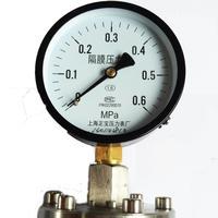 Shanghai positive stainless steel flange thread connection diaphragm pressure gauge YTP 100ML 0 1.6MPA