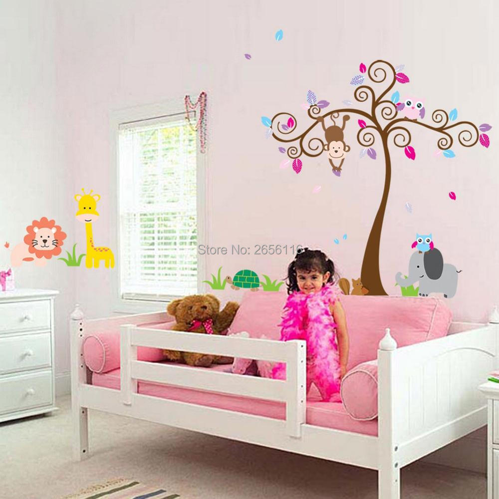 compare prices on monkey baby room decor online shopping buy low large size monkey owl lion wall stickers diy decorative animal tree wall decals for nursery baby
