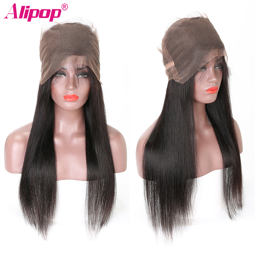 360 Lace Frontal Closure Brazilian Straight Hair Pre Plucked 10-24 Inch Remy Human Hair Free Middle Part 360 lace Closure ALIPOP (2)