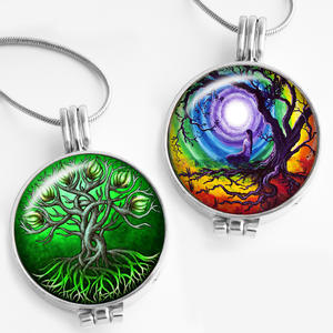 Necklace Fragrance Aromatherapy-Diffuser Glass Pendant Aroma Locket Tree-Of-Life-Perfume
