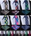 """Verifique 2.75 """" 100% algodão estampado Slim homens Skinny Narrow gravata do laço lenço de bolso praça terno Set # I7"""