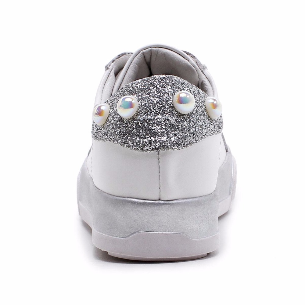 2018 Sweet Genuine Leather Platform Lace Up Pearl studded Sneakers Bling  Casual Shoes Retro Increased Women Vulcanized Shoes L57-in Women s  Vulcanize Shoes ... d940cf277b