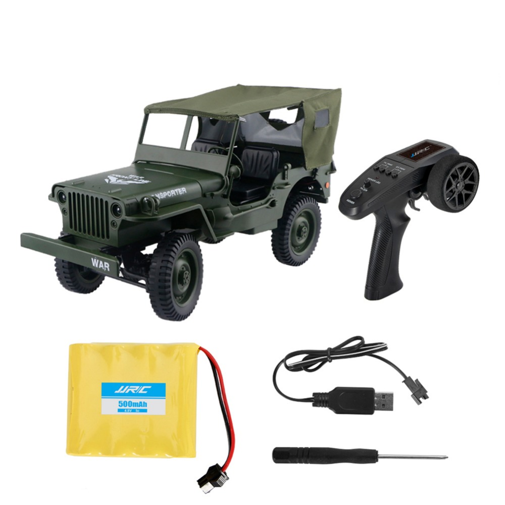 1:16 Mini Military Jeep Remote Control Buggy 4-Wheel Drive RC Truck Suspension Off-Road Vehicle Simulation Model with tent willys jeep 1 10