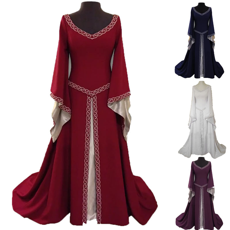 Medieval Gown Robe Costume Adult Women Irish Fancy Wedding Dress Gothic Witch Clothing Maxi Long Outfit For Ladies Halloween
